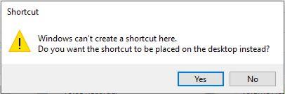 Create shortcut on Desktop?