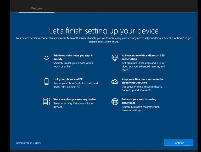 Finish setting up Windows 10